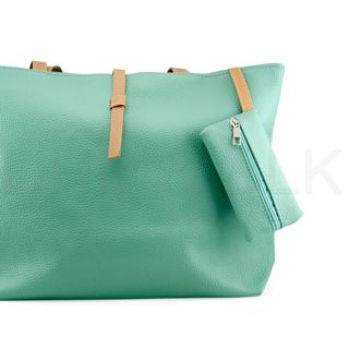1 pc Sky Blue Handbag Lady Shoulder Womens Faux Leather Fashion + Purse