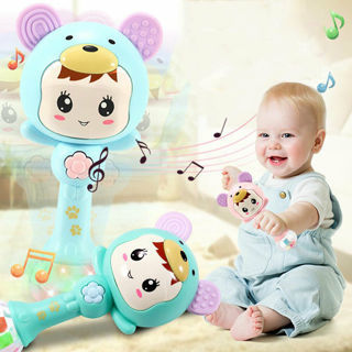 Baby Stick Rattle Teether Music Twinkle Light Cartoon Shape Handbell Hammer Toy