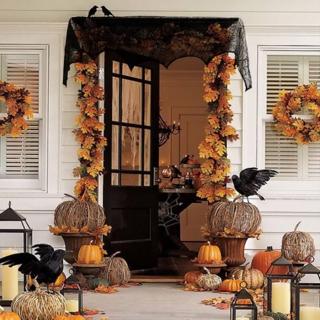 Halloween Decoration 1 Piece Black Lace Spiderweb Fireplace 45*243cm