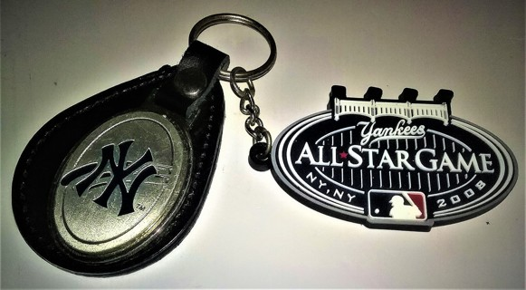 "MLB NY Yankees metal keychain with 2008 rubber All Star Game emblem - 2 1/4"" wide each"