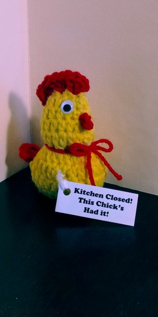 Crochet Chicken (B-7609) Yellow / Red trim -- Kitchen Closed - this chick's had it!