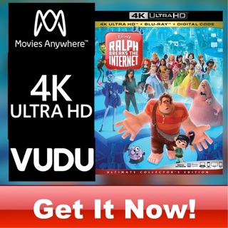 RALPH BREAKS THE INTERNET  4K MOVIES ANYWHERE OR VUDU CODE ONLY