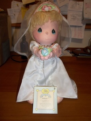 1987 Precious Moments Bride Doll #16025 Vintage Applause Wedding-FREE SHIPPING