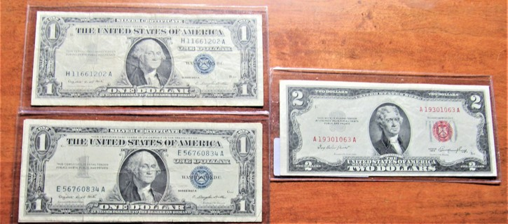 ★★ (1) $2 RED SEAL 1953 AU & (2) $1 SILVER CERTIFICATES 1957 VG ★★