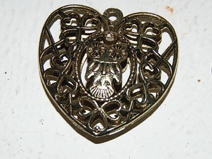 Antique Gold Tone Metal Owl Pendant