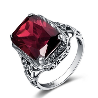 Rectangle Vintage Red Ruby Rings For Women