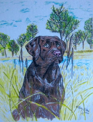 Retriever Hunting Dog Watercolor Print 7 3/4 X 10