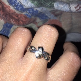 Real diamond ring sterling silver