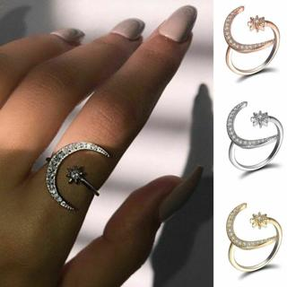 Fashion Silver CZ Moon and Star Rings Women Wedding Jewelry Open Adjustable Ring