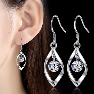 Retro Long Tassel Cubic Zirconia Pop Hook Earrings