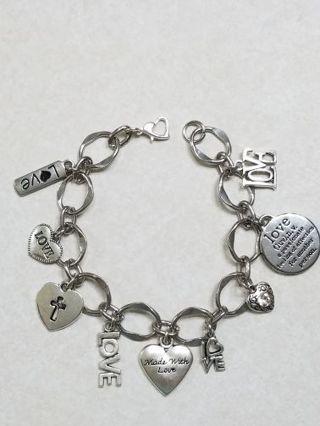 Hand Made silver tone Love/Heart charm bracelet