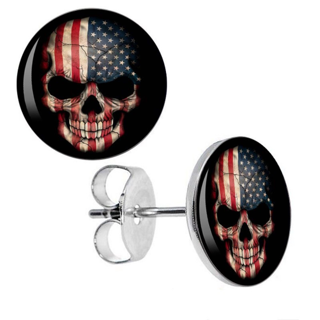ONE PAIR OF NEW 10MM HYPOALLERGENIC SURGICAL STAINLESS STEEL AMERICAN FLAG SKULL EARRINGS USA