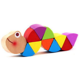 Cute Crocodile Gift Puzzles Educational Baby Caterpillars Wooden Toy