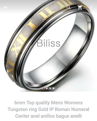 Men's tungsten ring with Roman numerals . Size 9.5