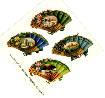 Vintage VICTORIAN Embossed FAN Stickers