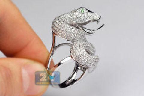 Gorgeous 925 Silver Emerald Snake Animal Ring Annversary Wedding Jewelry Sz 6-10