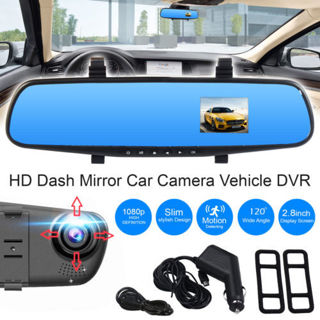 "2.8"" 1080P Car DVR Rearview Mirror + Camera Video Recorder Dash Cam"