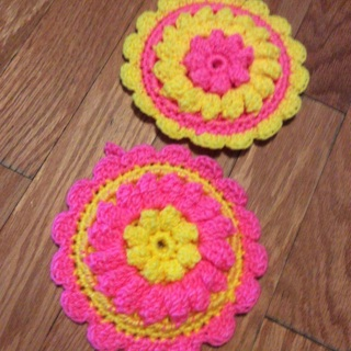Hand Crochet Two Puff Round PotHolders. Beautiful EASTER Gift.