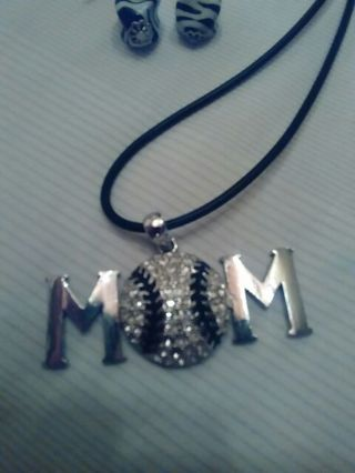 "Baseball or softball ""mom"" blinged out necklace"