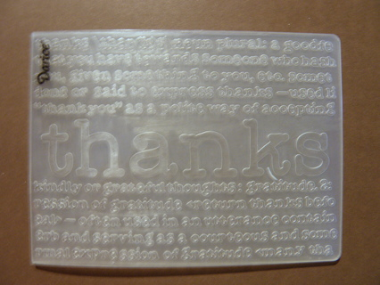 THANKS DEFINED ~ Darice Embossing Folder