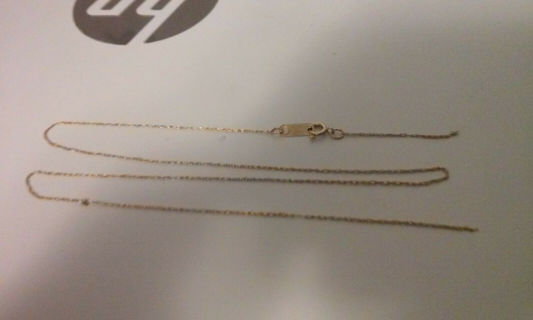 """10k Solid Gold 14"""" IWI Rope Chain Necklace 1mm - Snapped By Clasp -"""