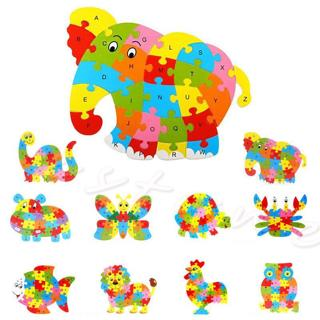 Kids Baby Wooden Animal Puzzle Numbers Alphabet Jigsaw Learning Educational Toy