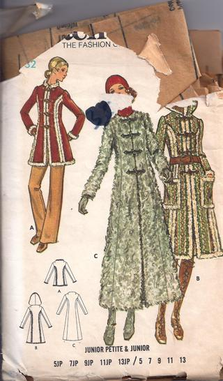 Free: Butterick 6353 Junior size 7 coat and hood sewing pattern ...