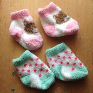 Two Pairs Of Newborn Fuzzy Socks