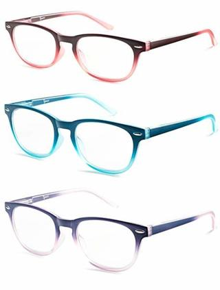 One Pair of Colorful Round Reading Glasses with 1.50 Strength WITH GIN BONUS