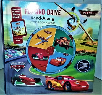 """2009 Disney """"Fly & Drive"""" Planes & Cars hardcover book & CD - 132 pages 9"""" x 9"""""""