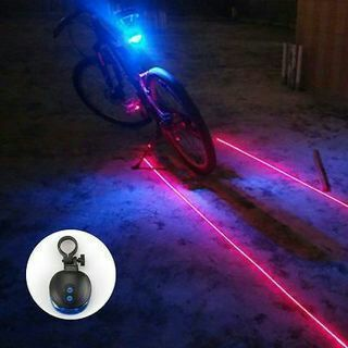 5 Blue LED 2 Laser Beam Bicycle Bike Cycling Tail Rear Light Safety Warning Lamp