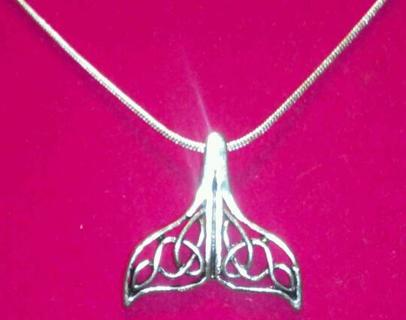 Celtic Knot Whale Tail Necklace, Choice of Chain, Plus Choice of Bonus Earrings, Unisex
