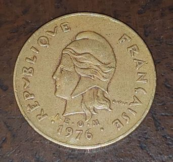 1976 French Polynesian Island Coin