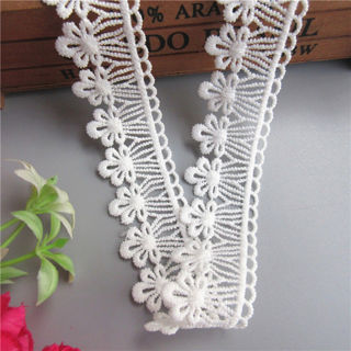 1 Yard White Flower Cotton Crochet Lace Trim Ribbon Embroidered Appliques Sewing