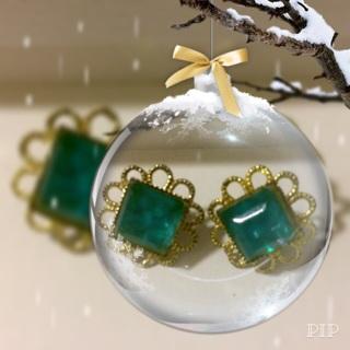 Vintage (27+ yrs) Clear Blue/Green Clip Earrings