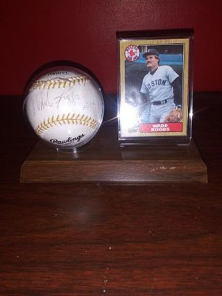 Wade boggs autographed baseball.