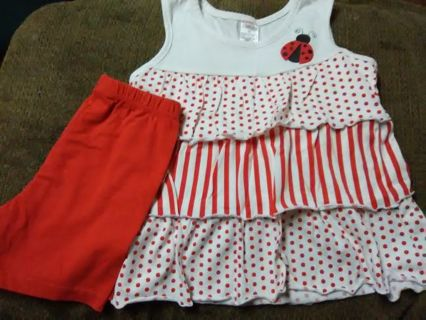 NWOT 2pc Toddler Girls Ladybug Short Outfit