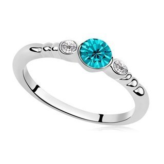 1 NEW Simple Dainty Turquoise Crystal Silver Ring Austria Fashion Designer Jewelry