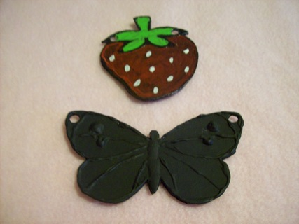2 Hand crafted charms Strawberry and Butterfly