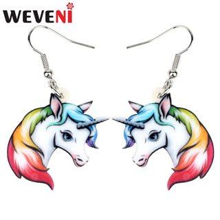 WEVENI Acrylic Anime Rainbow Unicorn Head Earrings Drop Dangle Fashion Animal Jewelry For Women