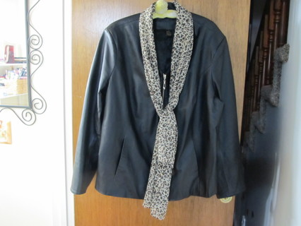 IMAN Soft all Leather Black Scuba Jacket with Moto Collar 2X Like NEW!