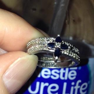 Sapphire & diamond wedding set 6 1/2