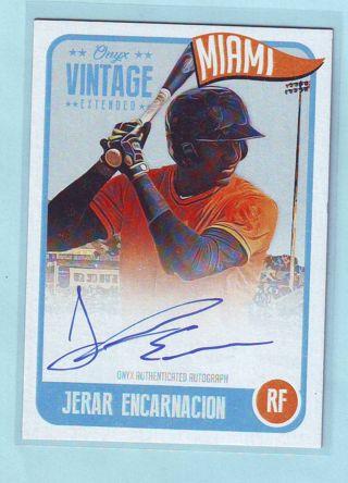 2020 Onyx Vintage Extended Jerar Encarnacion AUTOGRAPH Baseball Card # EAJE Marlins