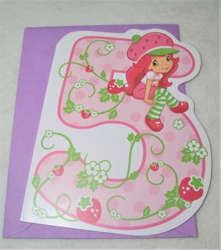 Cute Strawberry Shortcake Birthday Card and Envelope for 5 Yr. Old