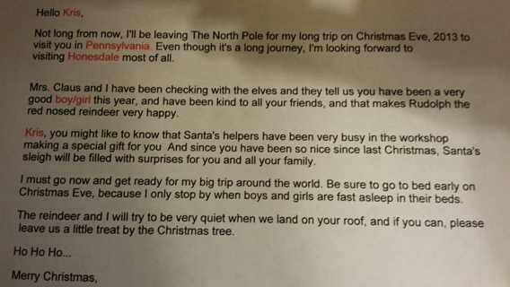 Autographed Letter From Santa & Mrs. Claus