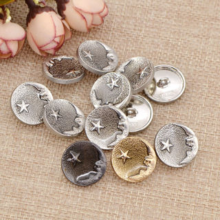 20Pcs Metal Shank Buttons Moon Star Pattern DIY Suit Coat Gold Silver Black