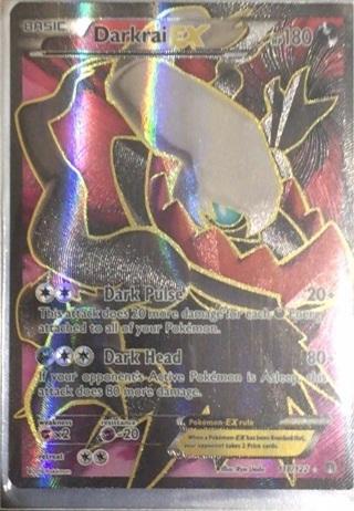 Darkrai EX pokemon card with sleeve