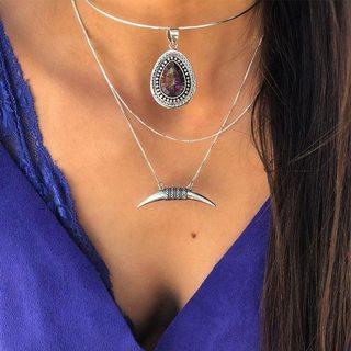 Women Fashion Choker Multicolor Water Drop Moon Pendant Chain Multilayer Silver Long Necklace