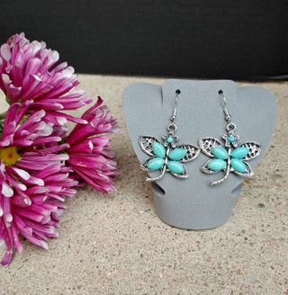 New Lovely Pair of Bold Silver Statement Turquoise Dragonfly Earrings
