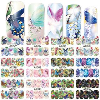12 Designs/Set  Beauty Butterfly Mixed Designs Full Water Transfer Stickers Nail Art Decal Sticker